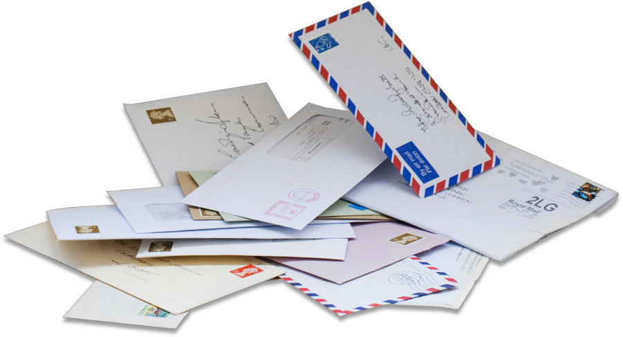 Letters addressed to six different UK Mail Centre locations