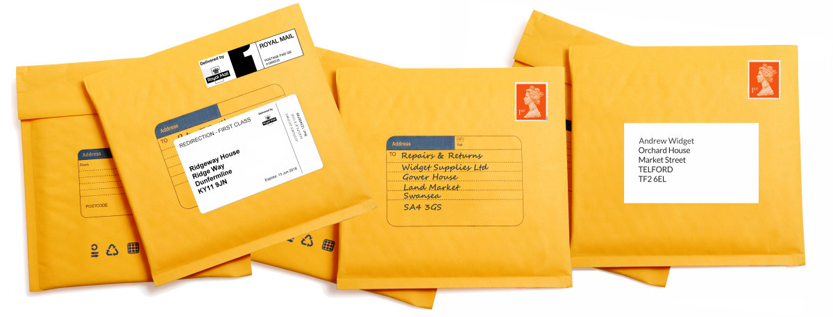 Envelopes with Business and Private Mailbox UK address examples